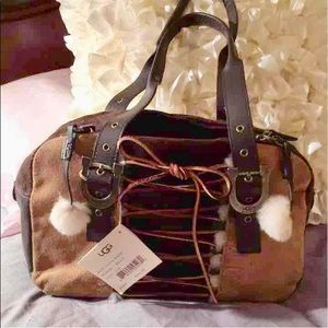 Final$-NWT UGG Laced Leather & Suede Bowler Bag